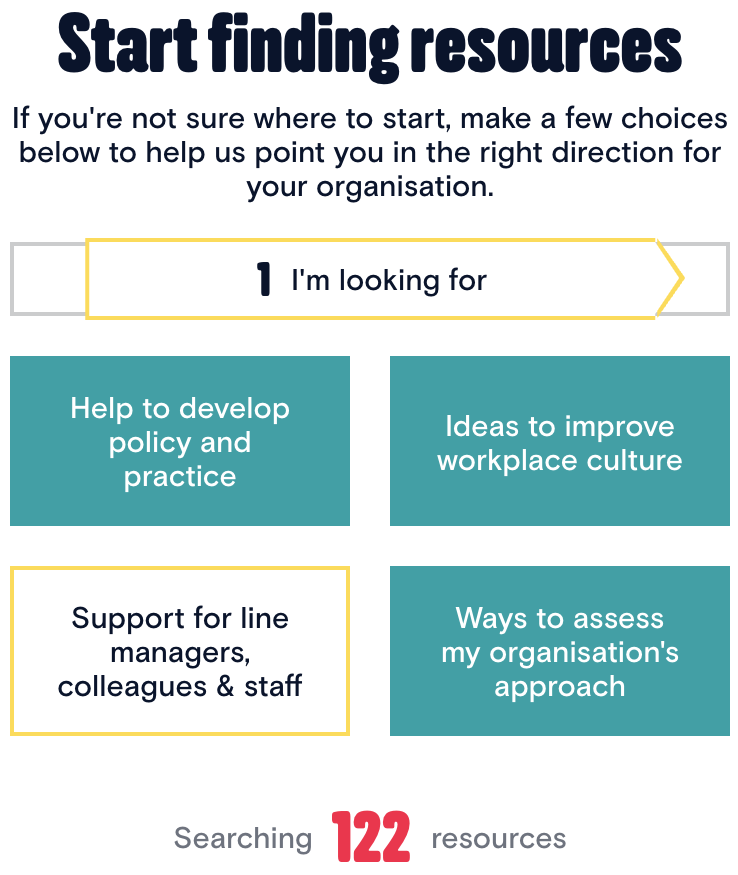 Screenshot of the Start Finding Resources tool on the front page of Mental Health at Work