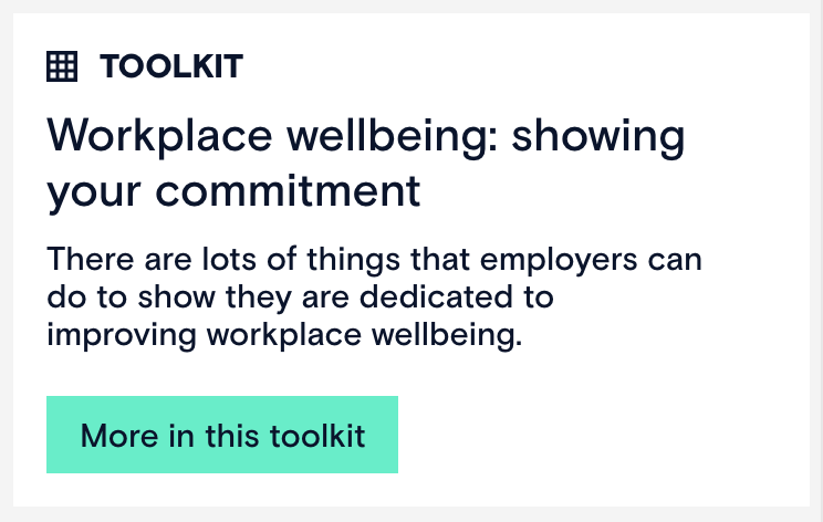 Screenshot of a toolkit about showing your commitment to workplace wellbeing, from the Mental Health at Work site