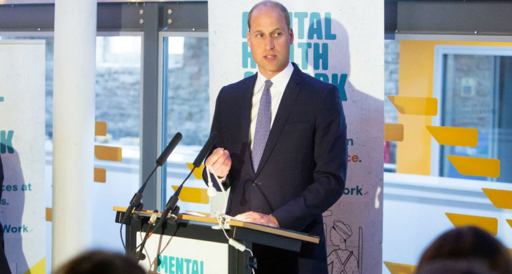 Prince William, the Duke of Cambridge, standing at a podium addressing an audience at the launch of the Mental Health at Work website