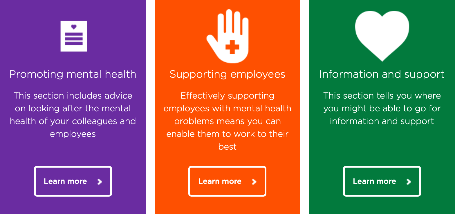 An extract of Bupa's Information Hub website, showing three coloured boxes representing three sections: Promoting mental health, Supporting employees, and Information and support