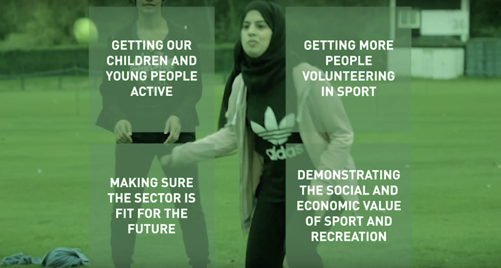 Getting our children and young people active; Getting more people volunteering in sport; Making sure the sector is fit for the future; Demonstrating the social and economic value of sport and recreation