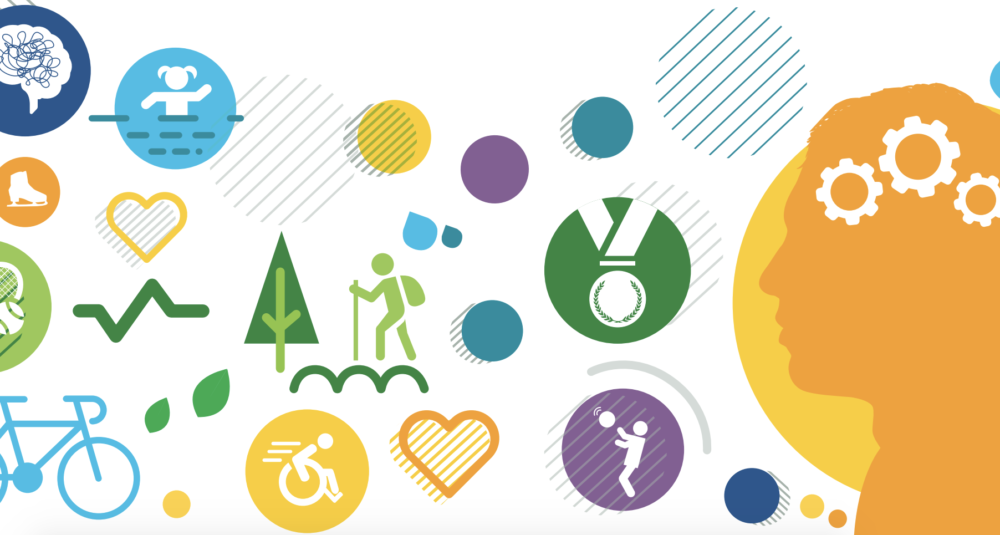 A range of icons relating to sport, physical activity and mental health, including a brain, a person swimming, an ice skate, a heart, a tennis racket, a bicycle, a hiker, a wheelchair racer, a heartbeat graph, a medal and a basketball player