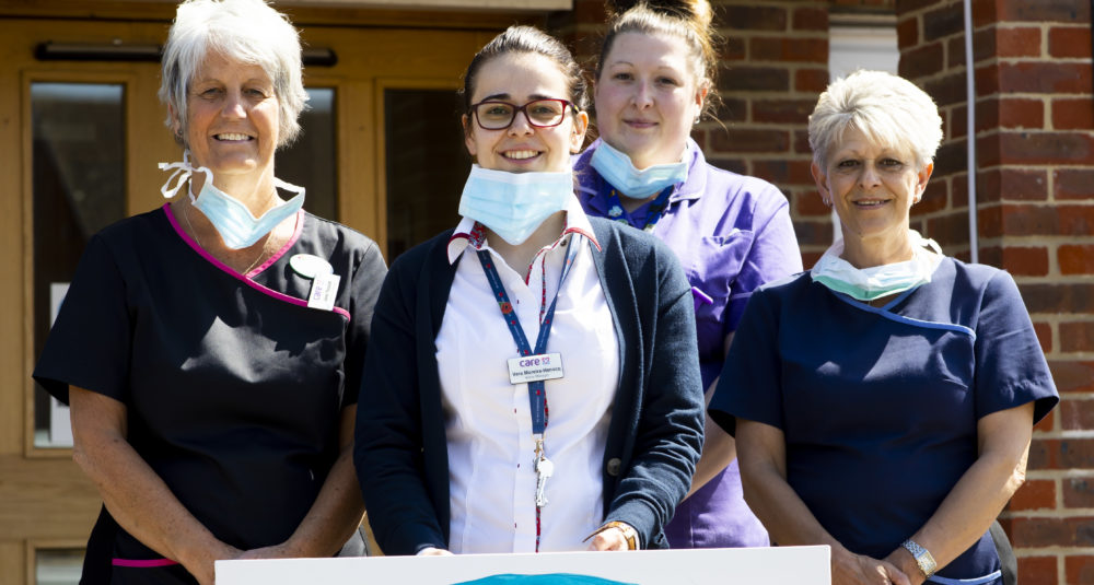Staff at Knebworth Care Home show support for frontline workers.