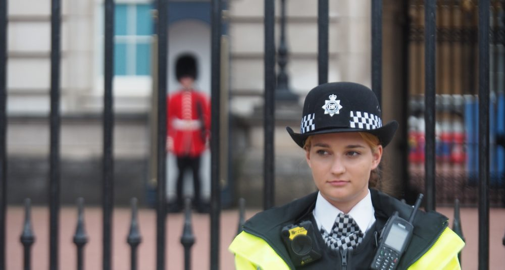 A police officer on duty in London.