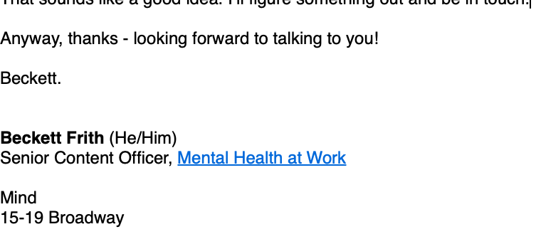 An email signature showing pronouns