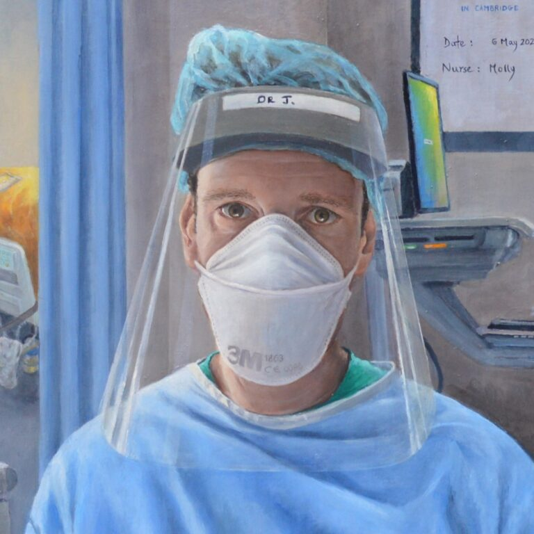 A painting of a doctor in an intensive care unit