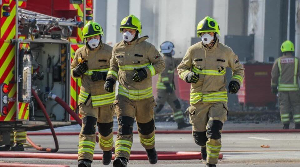 Firefighters at work. Credit: David Crews