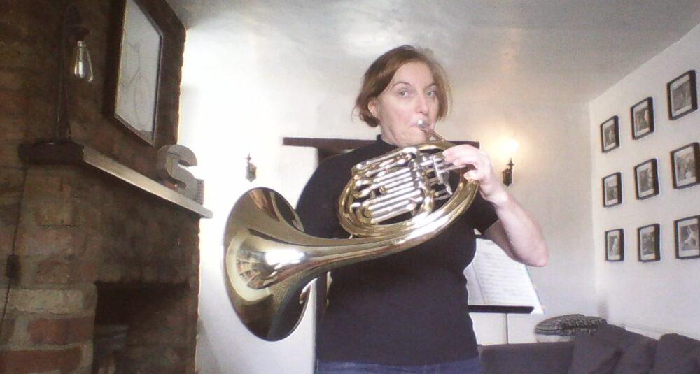 Sally Benatar with horn